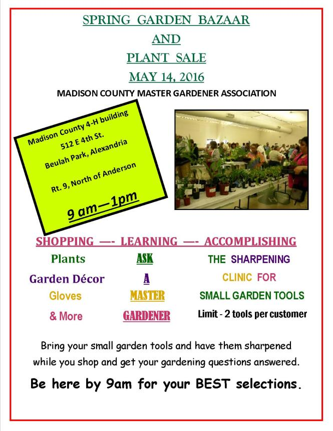 2016 plant sale and bazaar flyer